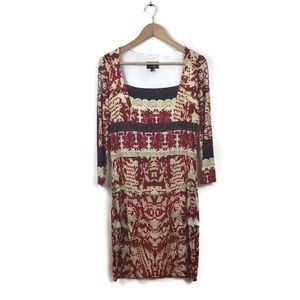 Just Cavalli Dress Red Printed Shift 46 Jersey